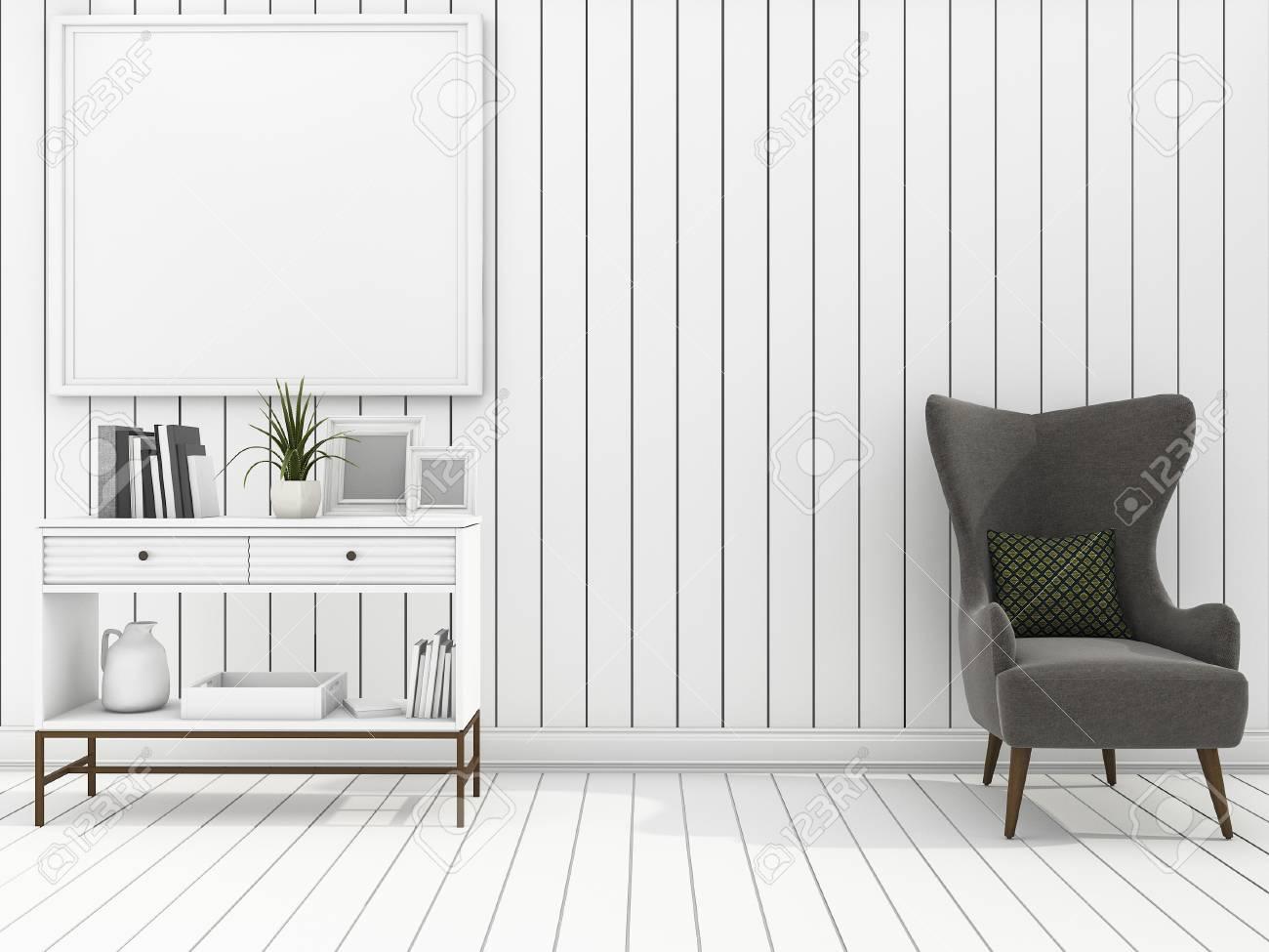 Wohnzimmer Der Weißen Wand Der Wiedergabe 3d Mit Sauberen Möbeln