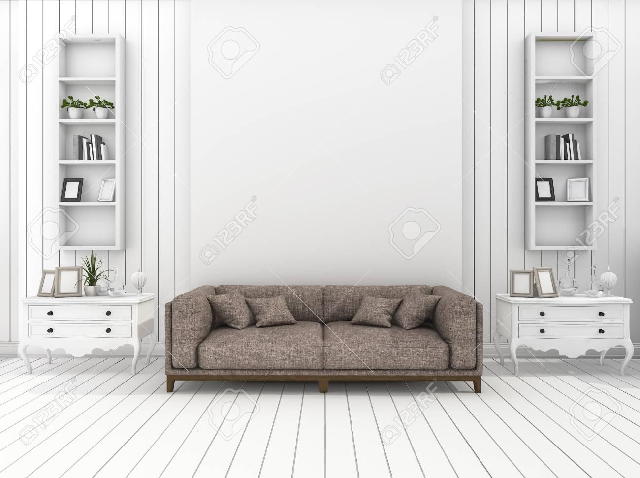 3D Rendu Blanc Blanc Moderne Salon Avec Décoration Classique Banque ...