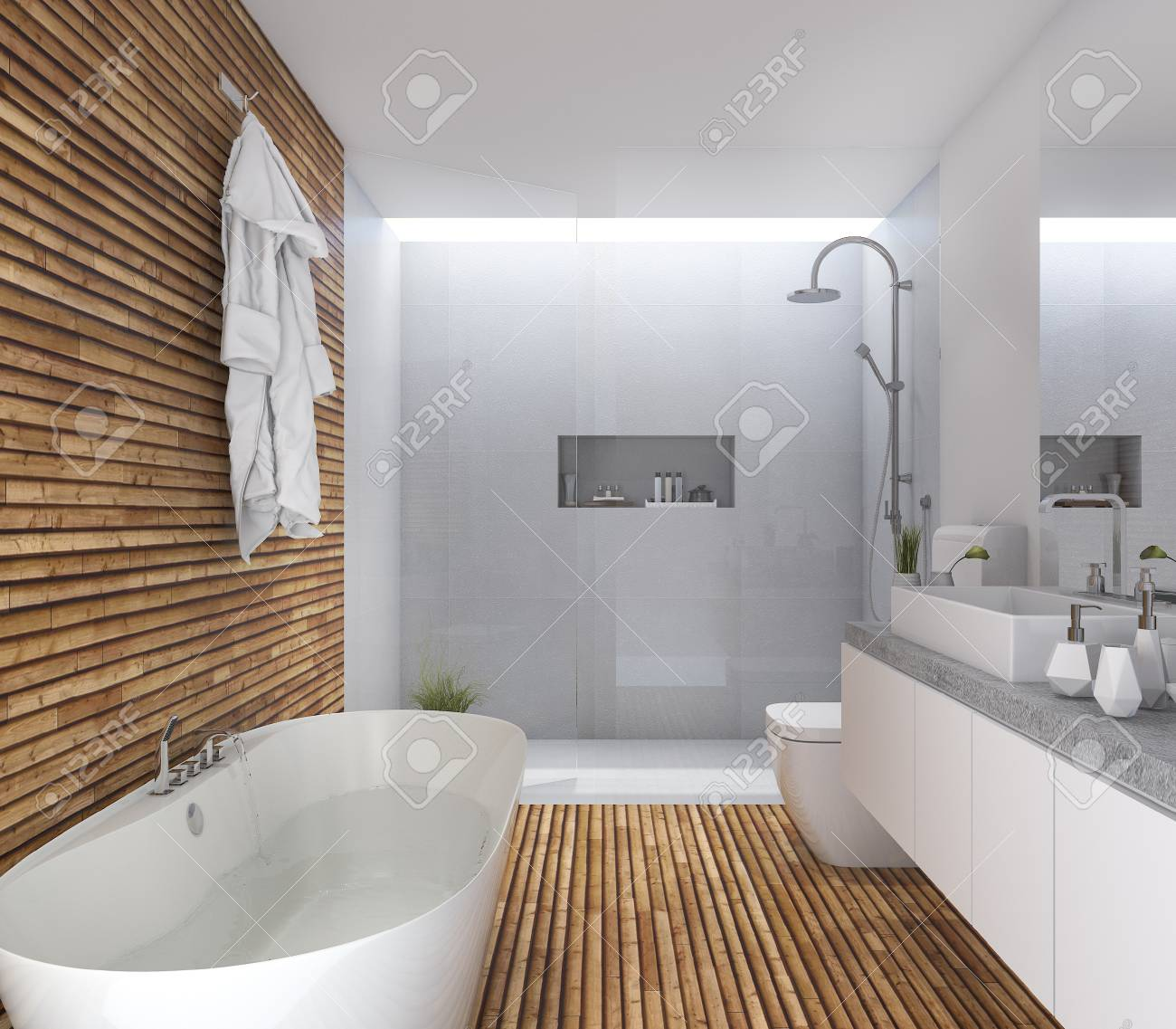 Charmant 3d Rendering Wood Modern Bathroom With Nice Design Stock Photo   69696642