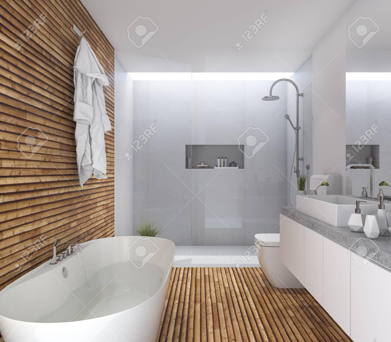 Cuarto de baño moderno de madera de la representación 3d con diseño  agradable