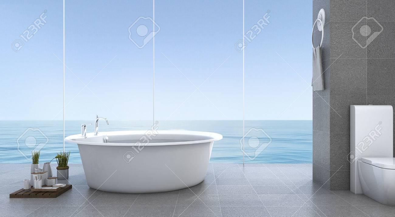 3d rendu brillant salle de bain minimale près de la mer banque d