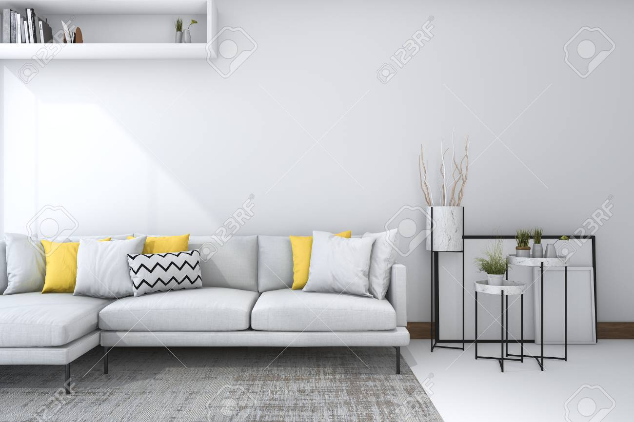 3d Rendering Yellow Sofa In White Living Room With Beautiful.. Stock ...