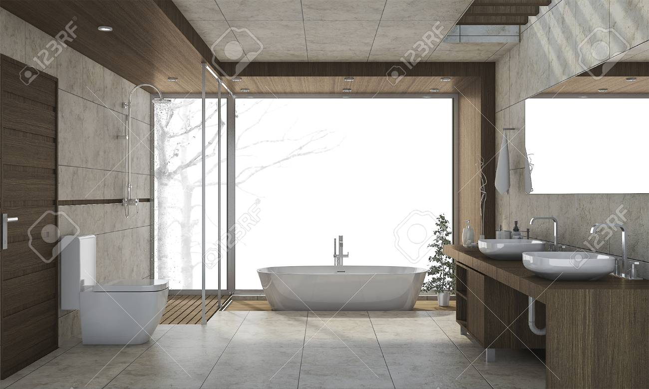 3d Rendering Nice Design Bathroom With White Background Stock Photo ...