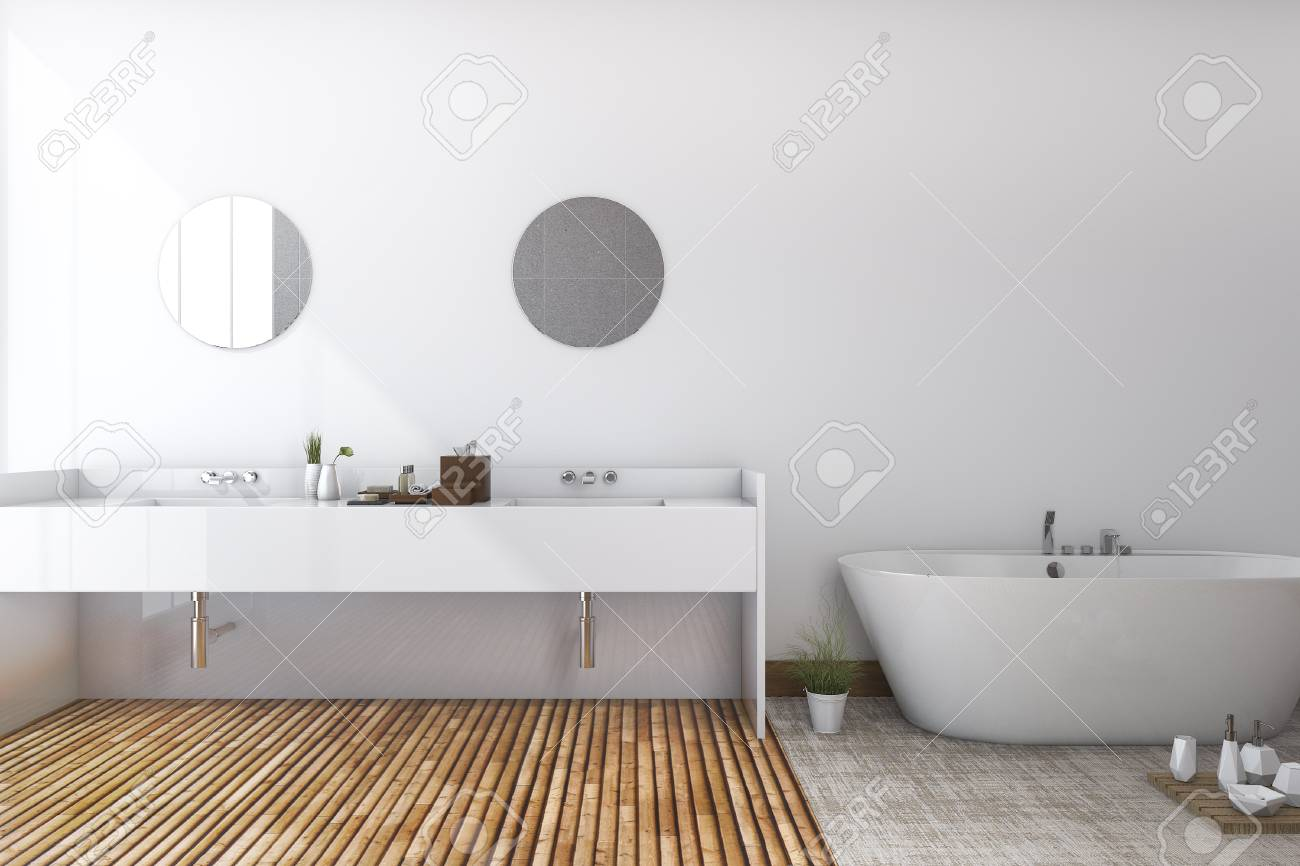 3d Rendering White Minimal Toilet And Bathroom With Wood Floor Stock Photo