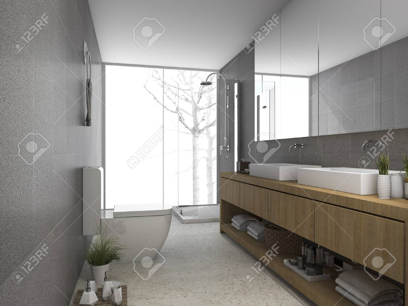 . 3d rendering modern clean bathroom and toilet with light from