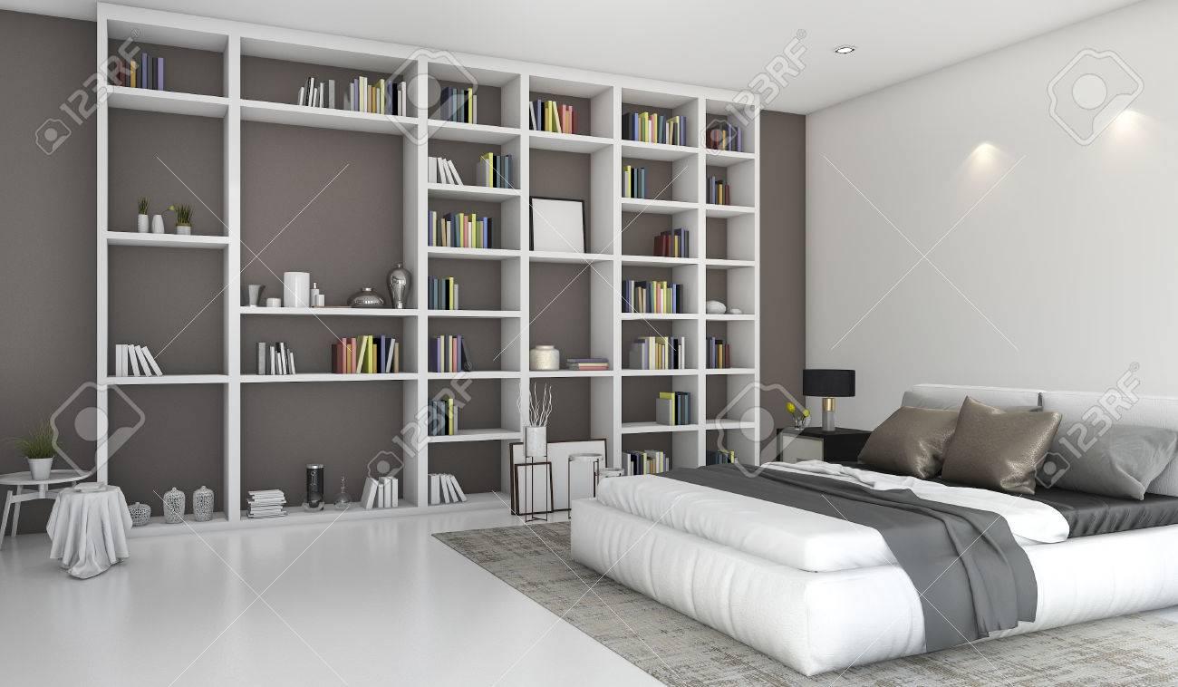 3d rendering chambre colorée contemporaine avec construit dans la  bibliothèque
