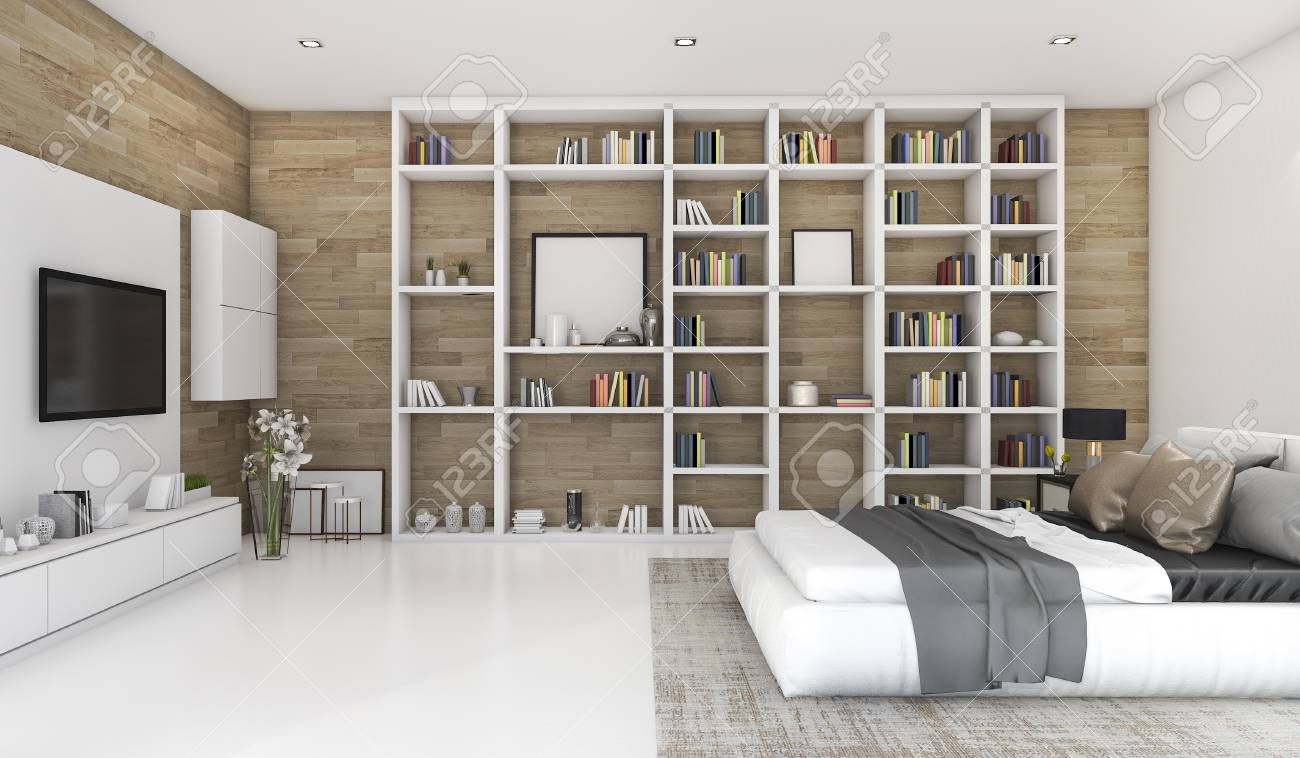 Chambre à coucher contemporaine en bois de rendu 3D avec construit dans la  bibliothèque