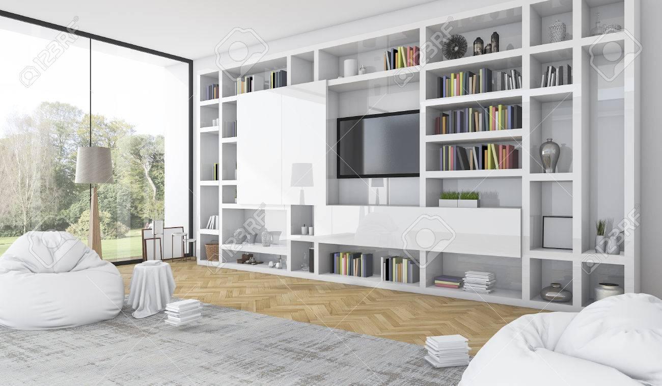 3d rendering built in white shelf with bean bag in modern white..