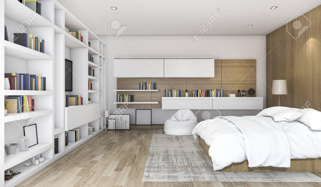 Chambre A Coucher Contemporaine En Bois De Rendu 3d Avec Construit Dans L Etagere