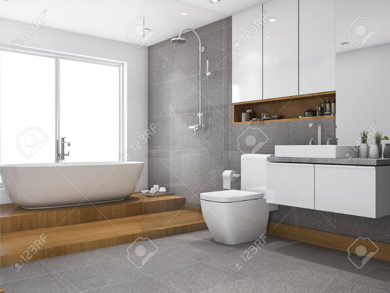 3d Rendering Wood Step Bathroom And Toilet Near Window Stock Photo ...
