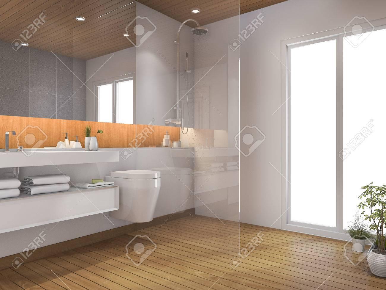 3d Rendering Holz Badezimmer Und WC In Der Nähe Von Fenster ...