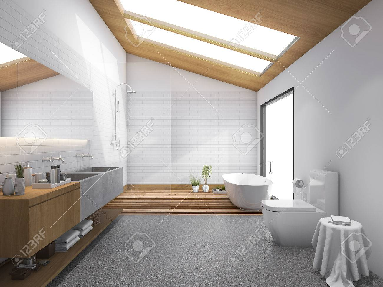 3d rendering skylight wood roof with modern design bathroom and