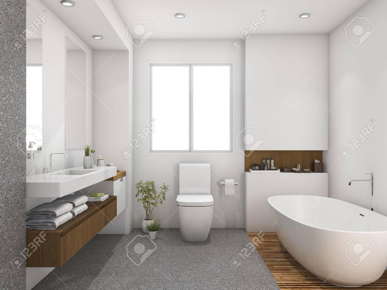 3d Rendering Wood And Tile Design Bathroom Near Window Stock Photo ...