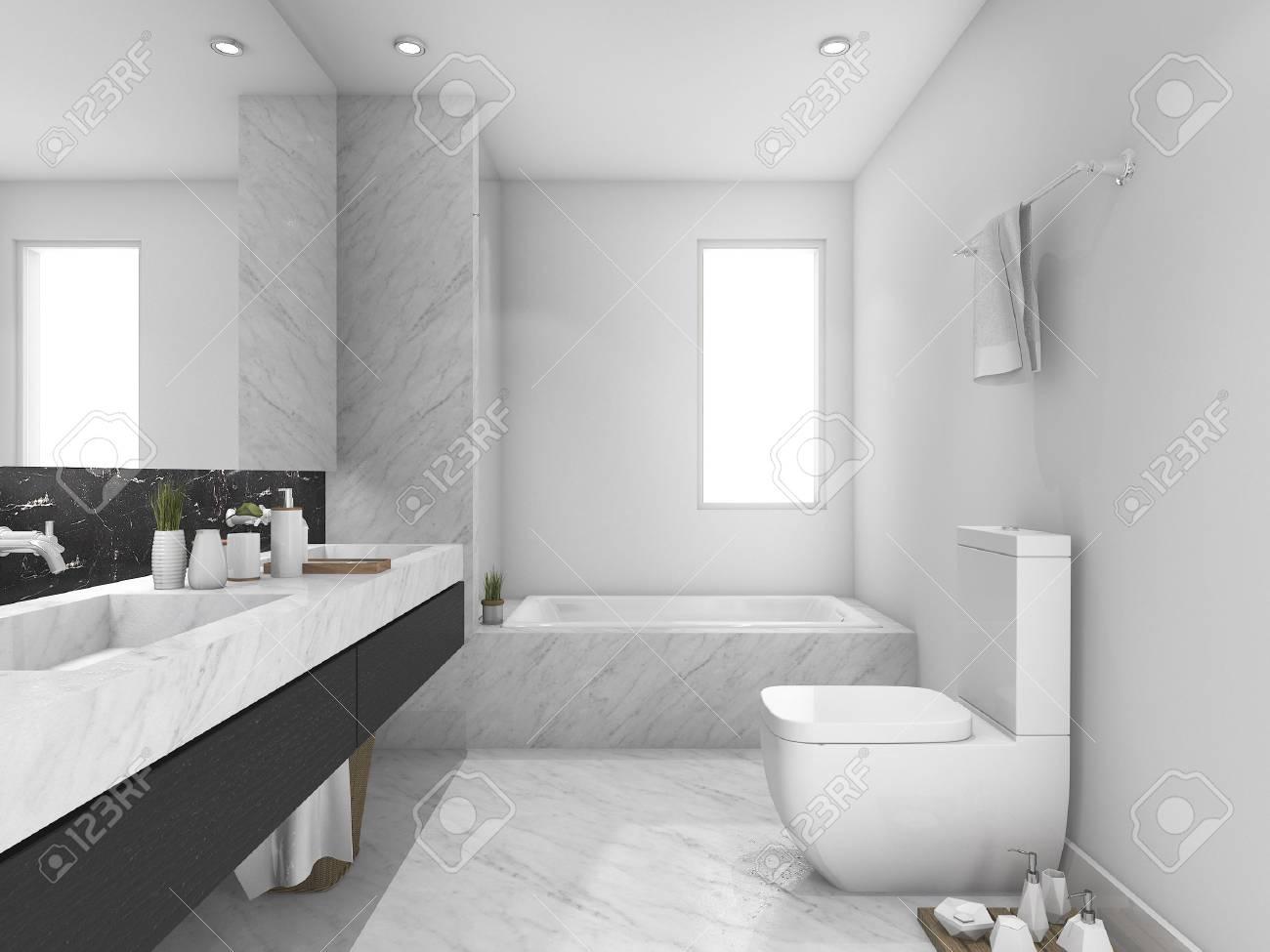 3d que rinde el tocador y el cuarto de baño de mármol blanco y negro