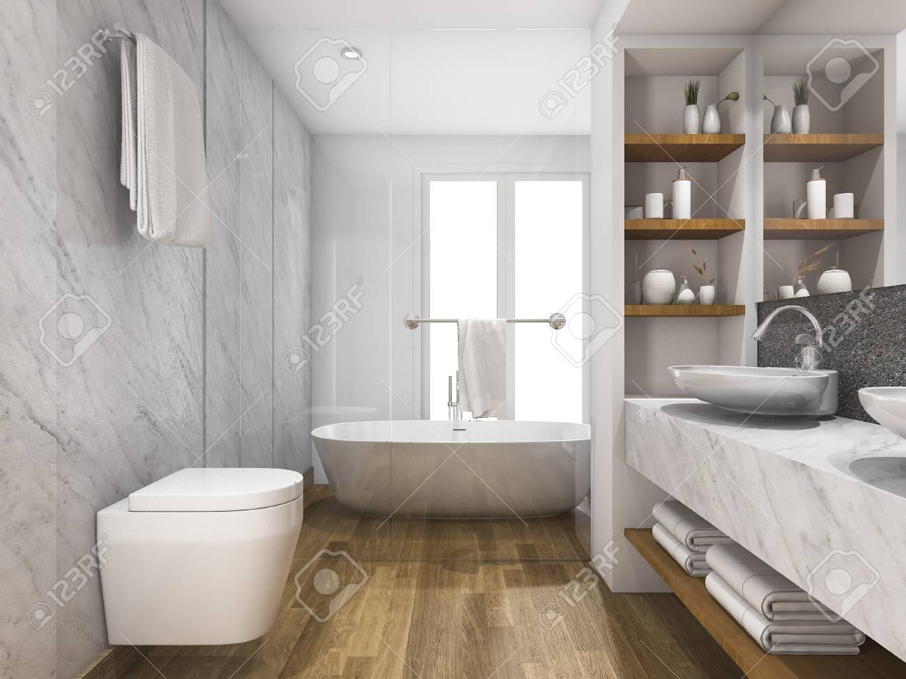 Banque Dimages Rception En 3d De Toilettes En Bois Et En Marbre Et Salle De  Bain