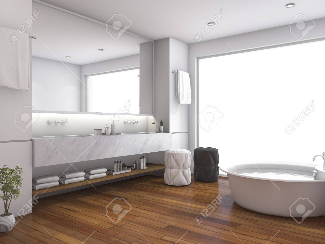 Salle de bain contemporaine en bois rendu près de la fenêtre