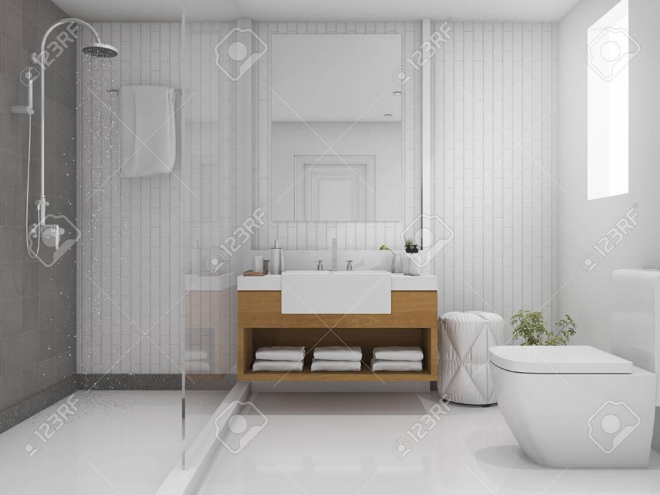 3d Rendering Brick Minimal Toilet And Bathroom Stock Photo