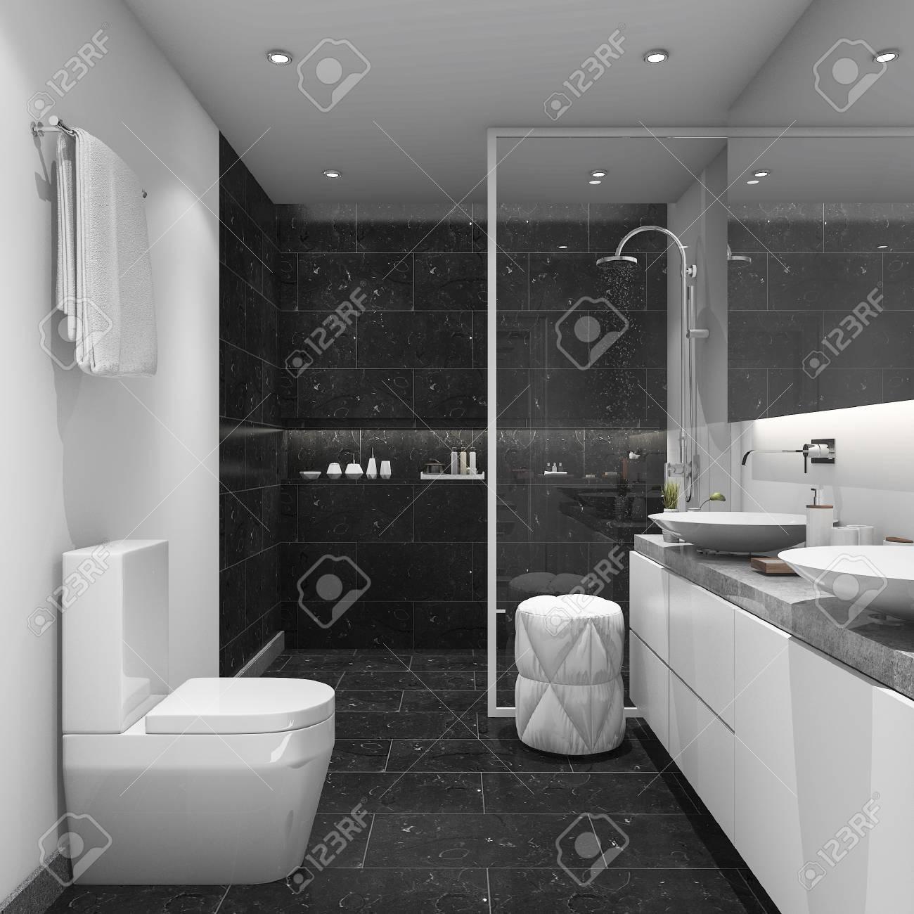 3D-Rendering Dunkle Fliesen Modernen Stil Badezimmer Lizenzfreie ...