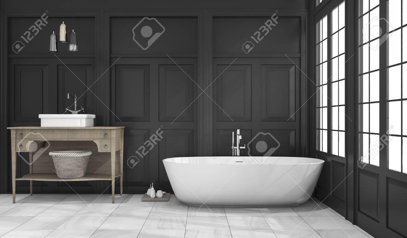 3d-rendering schwarz klassischen bad und wc in der nähe fenster