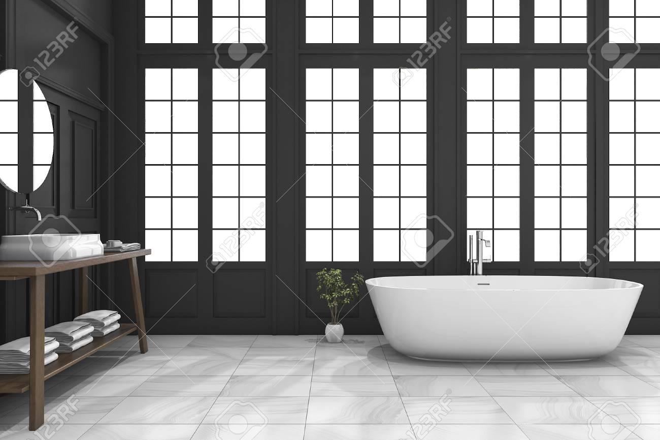 3D-Rendering Schwarz Klassische Badezimmer Mit Fenster In Der Nähe ...