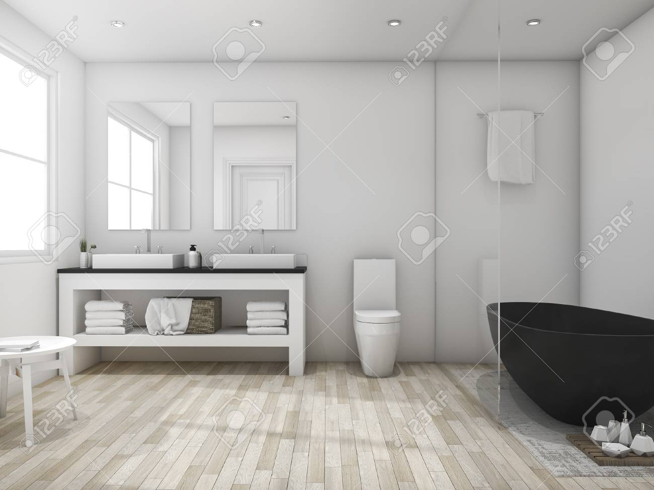 Cuarto de baño minimalista del desvanecimiento 3d con la bañera negra