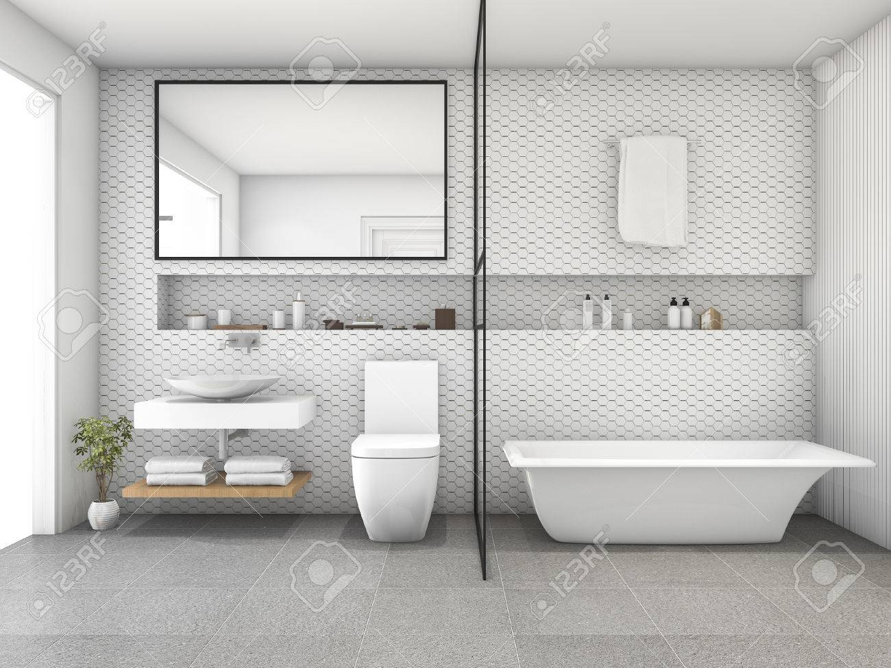 Representación 3d hexágono azulejo blanco moderno cuarto de baño