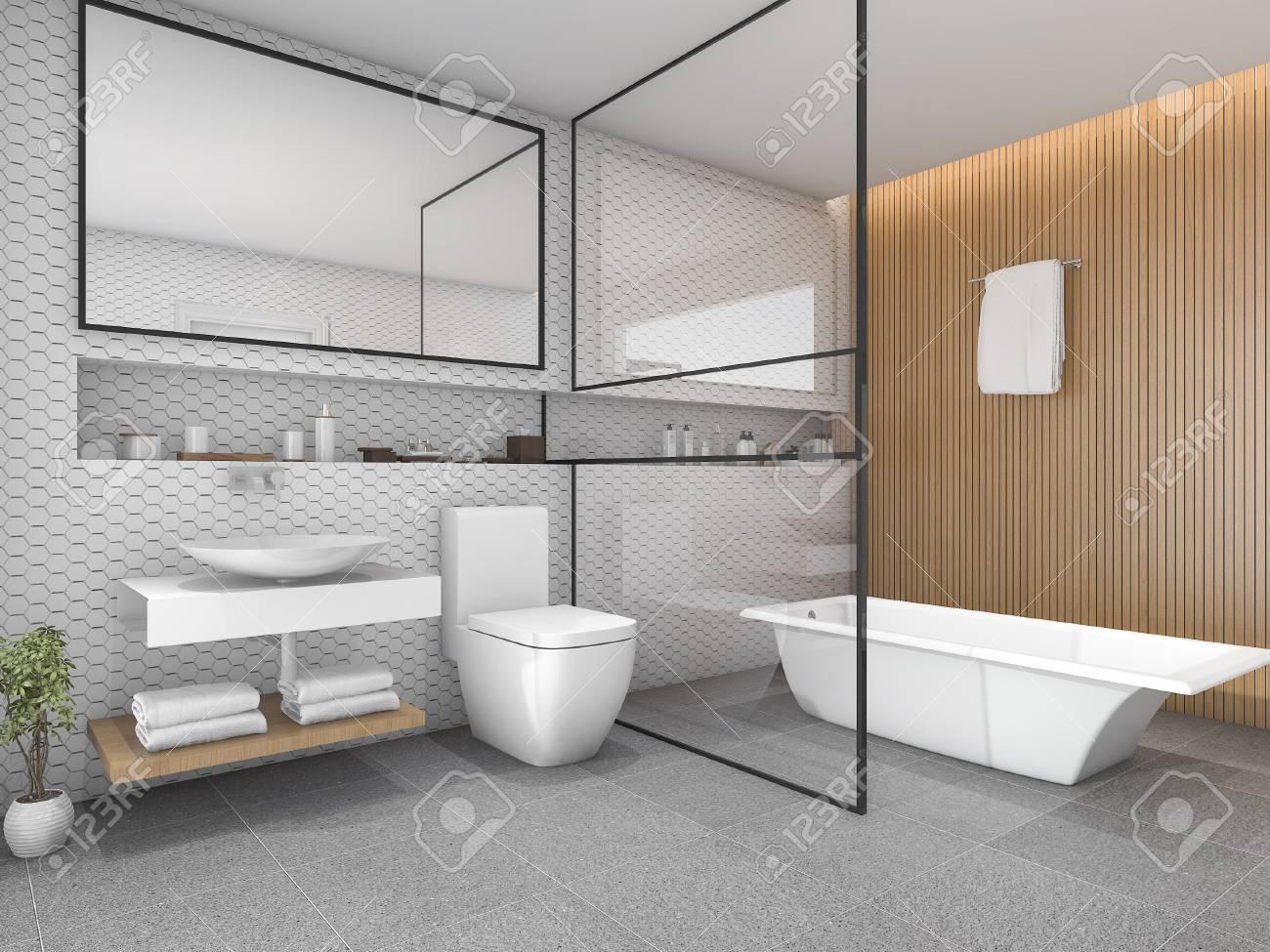 Salle de bains carrelage hexagone blanc rendu 3d avec décor en bois