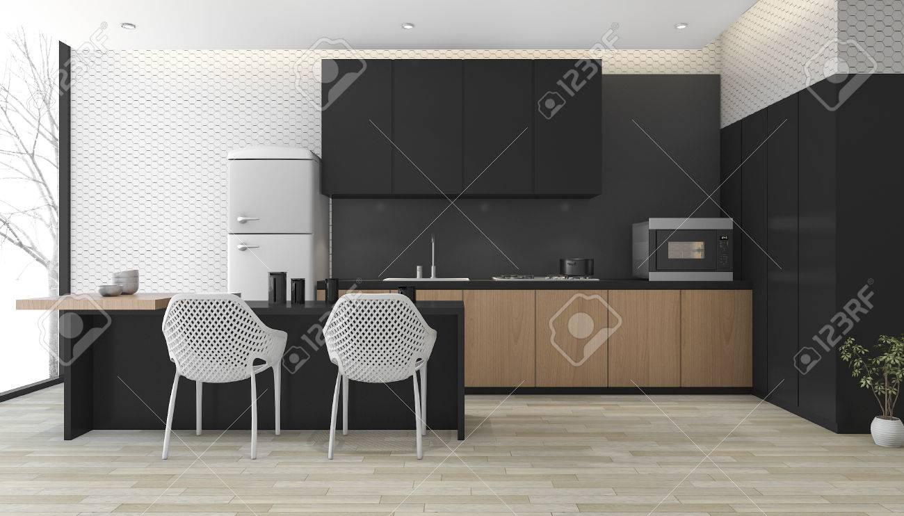 3d Rendering Moderne Schwarze Küche Mit Holzboden In Der Nähe Von