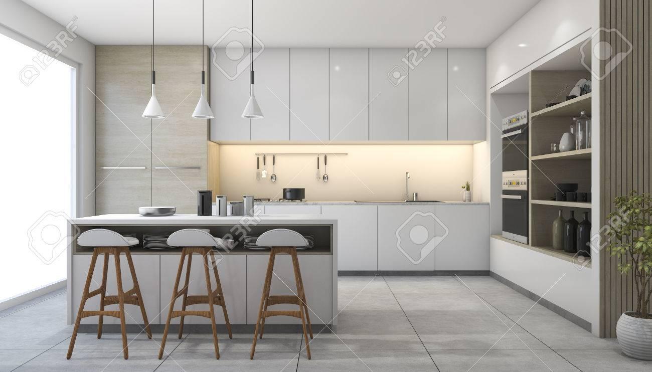 3D-Rendering Weiße Moderne Design-Küche Mit Lampe Lizenzfreie Fotos ...