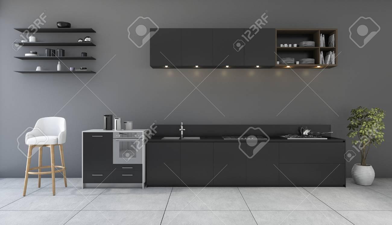 Cocina Negra De Representación 3D Con Sala De Diseño Minimalista ...
