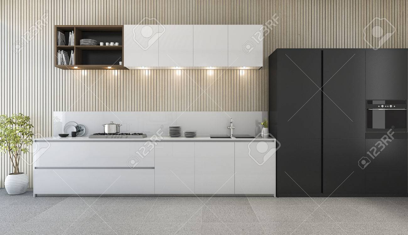 D rendering modern kitchen counter with white and black design