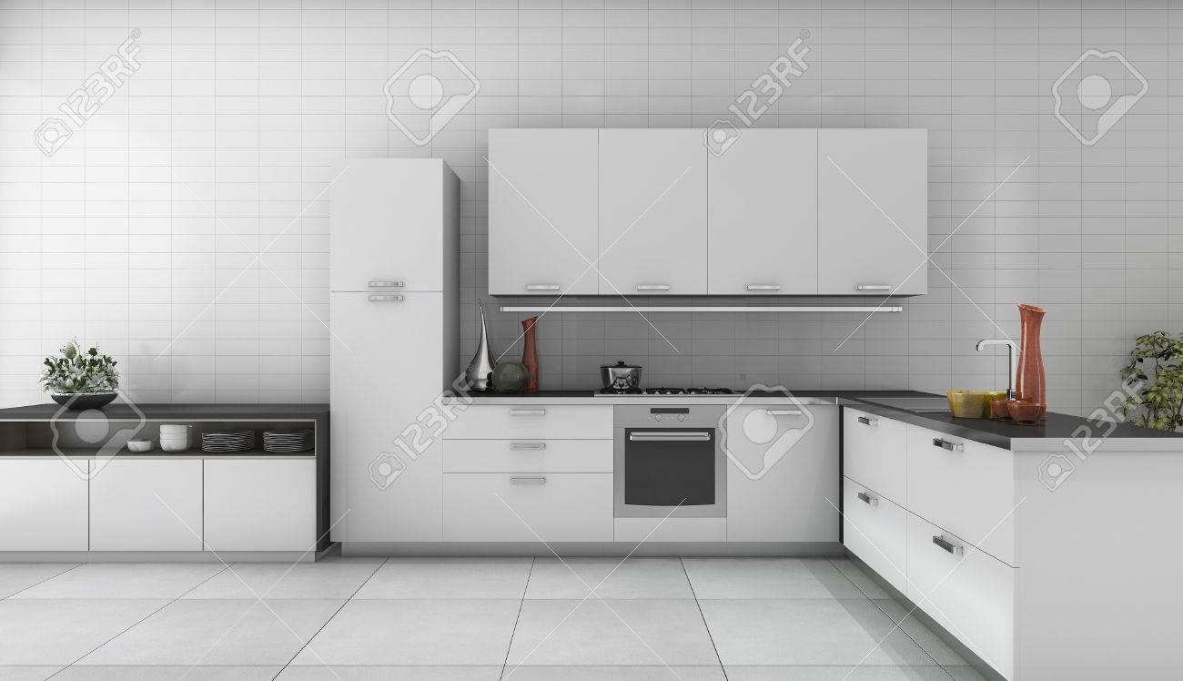 3D Rendering Weiße Moderne Küche Im Loft Stil Zimmer Standard Bild    71378561