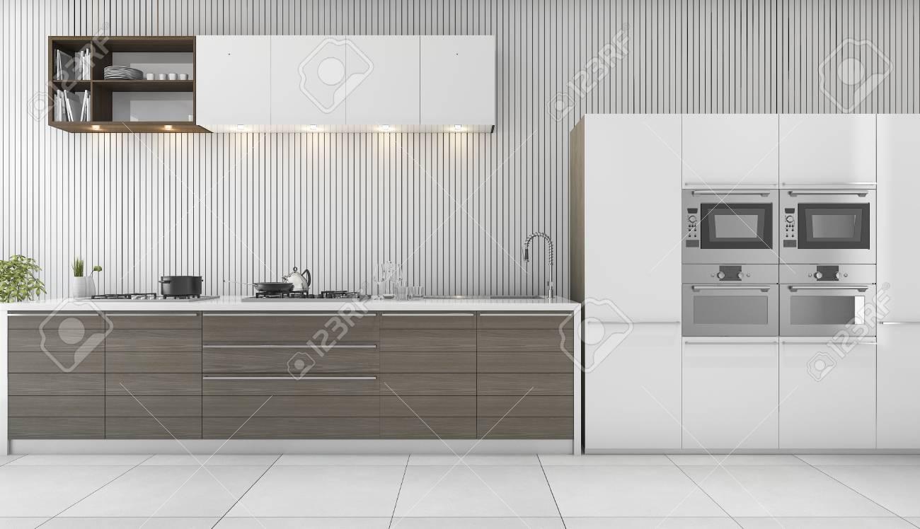 3d Rendering Minimal Weiße Moderne Küche Standard Bild   71561563