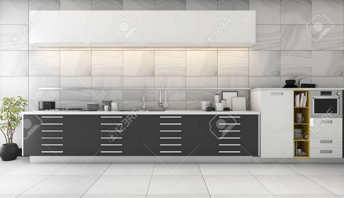 Procesamiento De 3D Bonita Cocina De Azulejos Con Diseño Negro ...