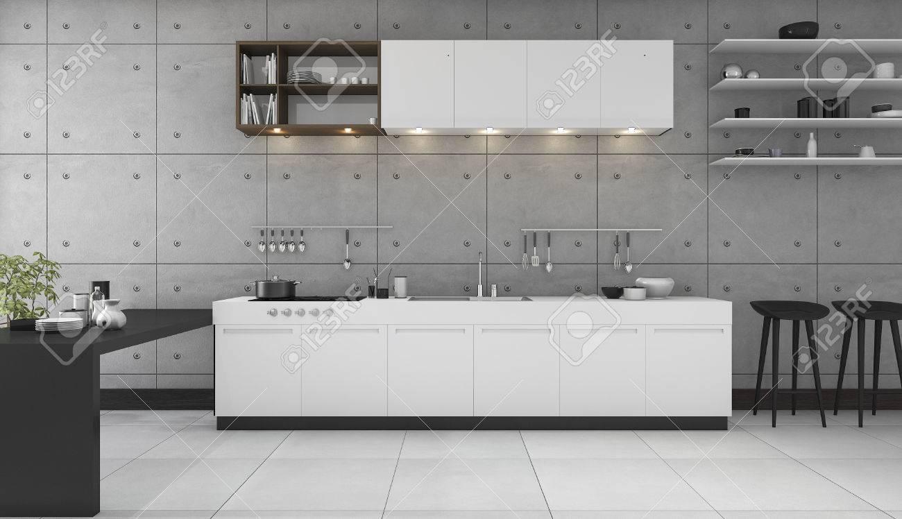 3d Rendering Loft Küche Und Esszimmer Mit Modernem Design ...