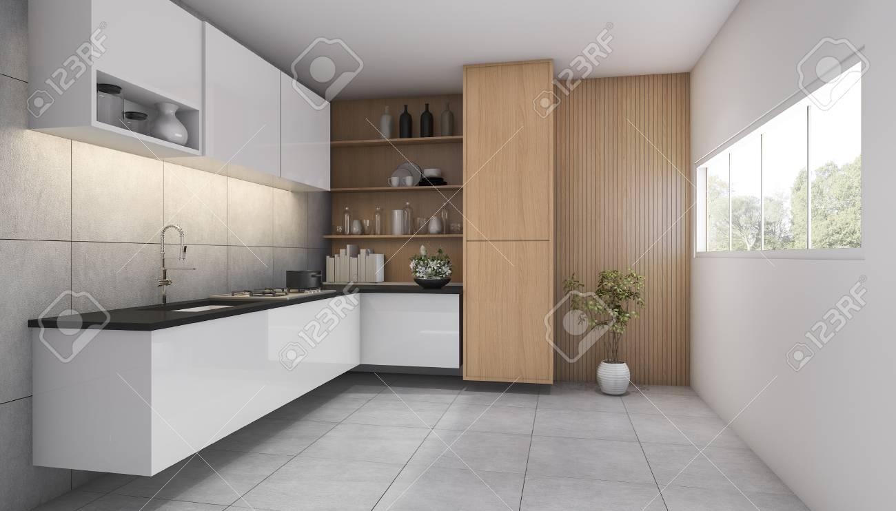 3d che rende cucina di legno contemporanea con la finestra