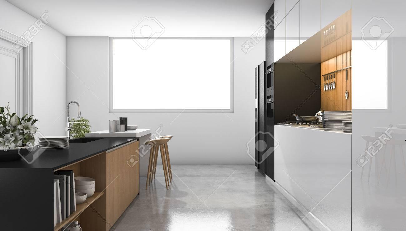 Weiße Küche Des Dachbodens Des Dachbodens Mit Dem Holz Errichtet ...
