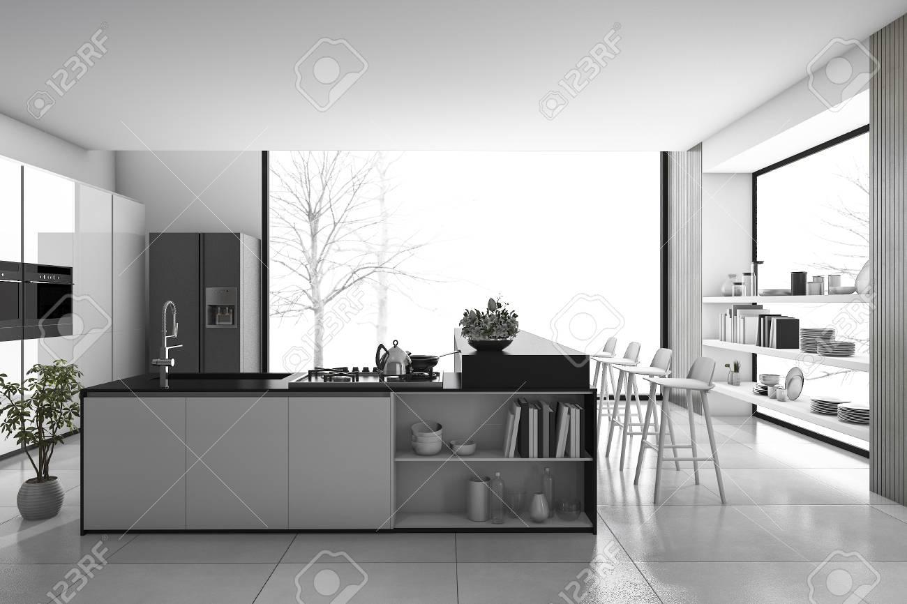 3d Rendering Black And White Modern Kitchen Loft Dining Room Banque Dimages