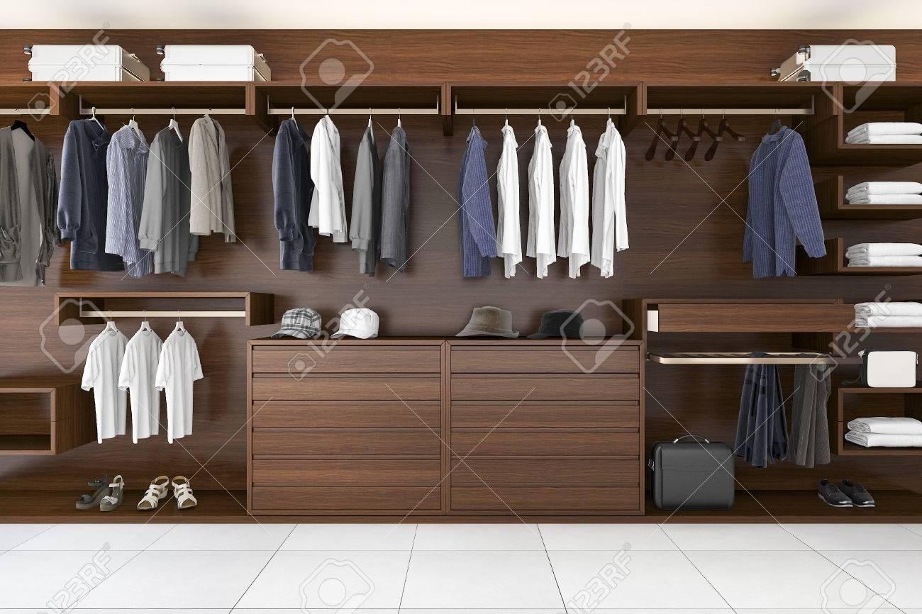 Großartig Schöne Kleiderschränke Ideen Von 3d Rendering Schöne Holz Horizontale Kleiderschrank Und