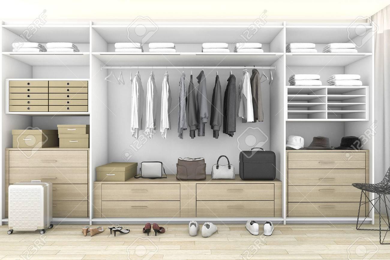 3d rendering minimal wood walk in closet with wardrobe - 72344366