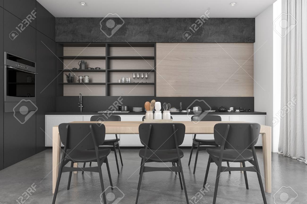 Attraktiv 3d Rendering Schwarz Holz Dachboden Esszimmer Und Küche Standard Bild    72953856