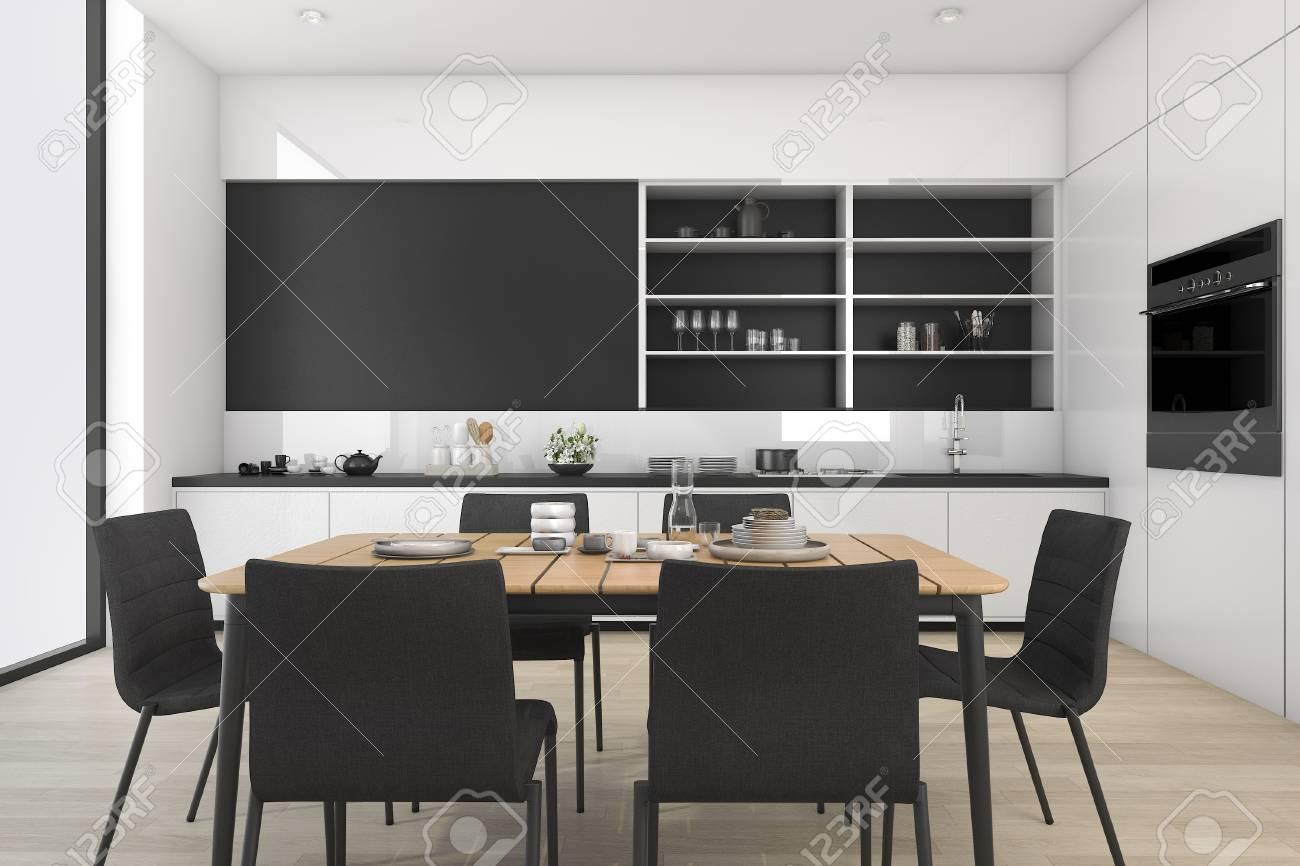 loft Rendu à cuisine salle et 3D noir manger blanc et DWH2beYE9I