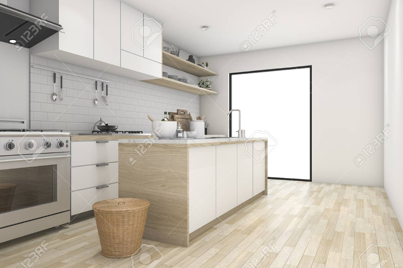 Charmant 3d Rendering White Minimal Kitchen With Contemporary Wood Stock Photo    72941011