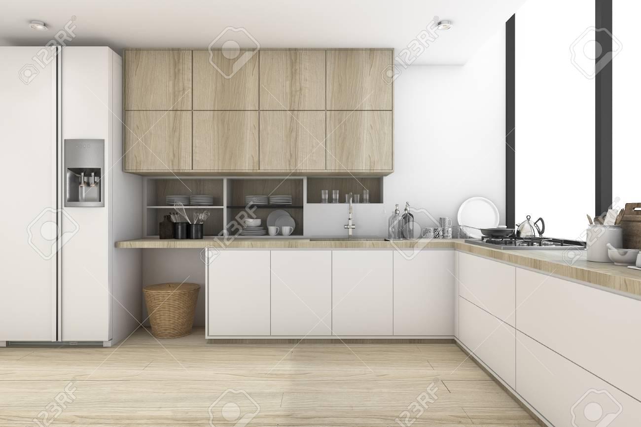 3D-Rendering Skandinavische Küche Mit Weißem Holzdesign Lizenzfreie ...