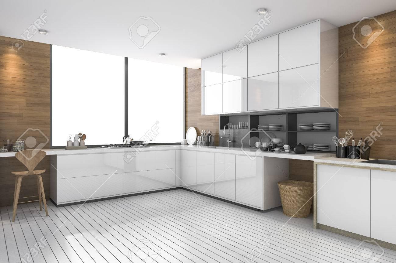 Procesamiento 3D cocina étnica moderna de color blanco con diseño de madera