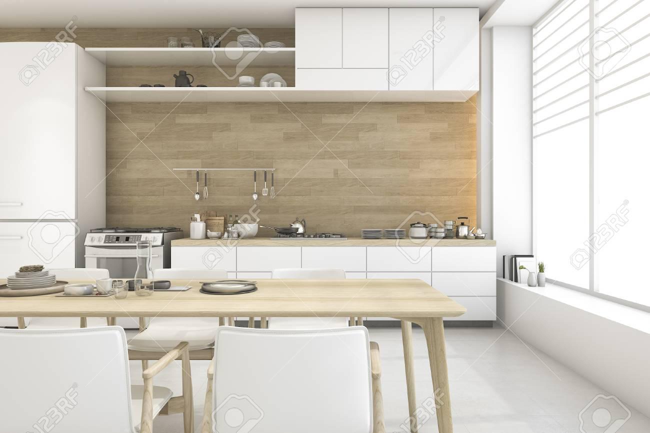 Rendu 3d De Style Scandinave Blanc Salle A Manger Et Cuisine Banque