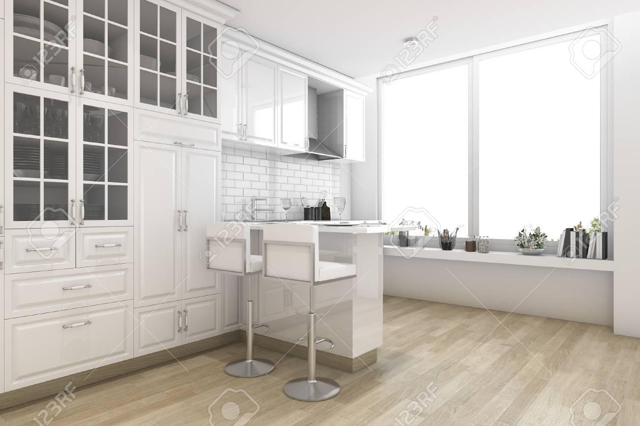 Rendu 3D de style scandinave blanc cuisine et salle à manger