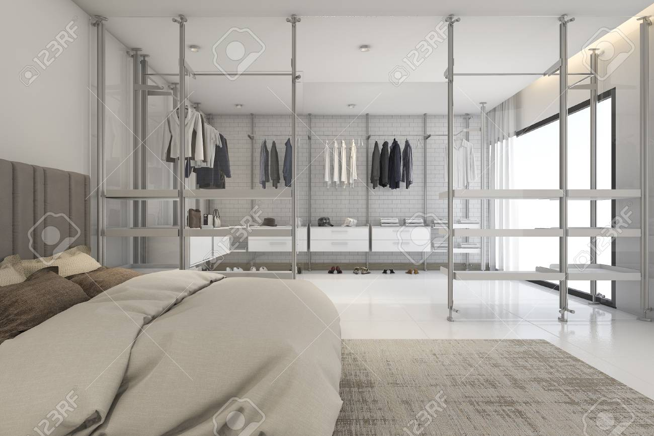 D rendering modern bedoom with walk in closet and wardrobe stock