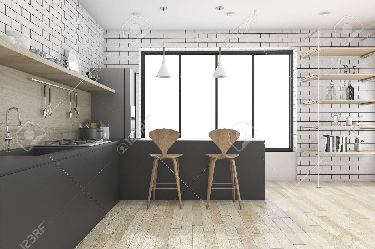 Réception 16D de cuisine noire avec étagère et décoration