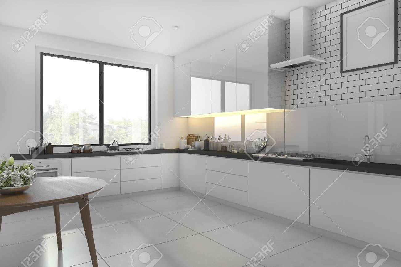 3d Rendering White Minimal Kitchen With Dining Table Stock Photo   74951697